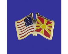 Macedonia Lapel Pin (Double Waving Flag w/USA)