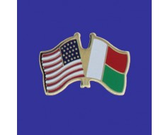 Madagascar Lapel Pin (Double Waving Flag w/USA)