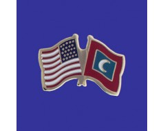 Maldives Lapel Pin (Double Waving Flag w/USA)