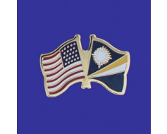 Marshall Islands Lapel Pin (Double Waving Flag w/USA)