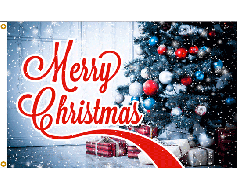 Merry Christmas Flag - Gifts Under the Tree - 3x5'