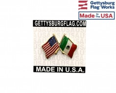 Mexico Lapel Pin (Double Waving Friendship with USA Flag)