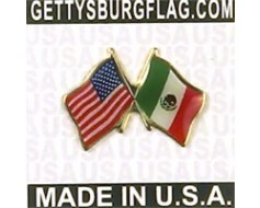 Mexico Lapel Pin (Double Waving Flag w/USA)