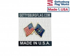 Michigan State Flag Lapel Pin (Double Waving Flag w/USA)