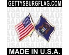Michigan State Flag Lapel Pin (Double Waving Flag w/USA)