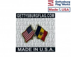 Moldova Lapel Pin (Double Waving Flag w/USA)