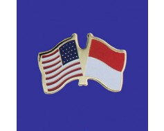 Monaco Lapel Pin (Double Waving Flag w/USA)