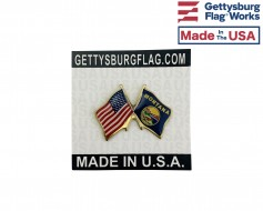 Montana State Flag Lapel Pin (Double Waving Flag w/USA)