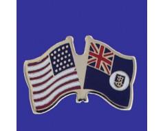 Montserrat Lapel Pin (Double Waving Flag w/USA)