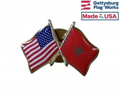 Morocco Lapel Pin (Double Waving Flag w/USA)