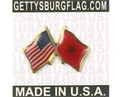 Morocco Lapel Pin (Double Waving Flag w/USA)