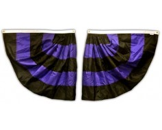 Mourning Pleated Half Fan Set, Nylon