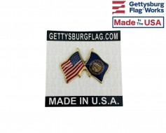 Nebraska State Flag Lapel Pin (Double Waving Flag w/USA)