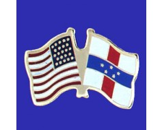 Netherlands Antilles Lapel Pin (Double Waving Flag w/USA)