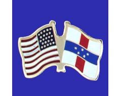 Netherlands Antilles Lapel Pin (Double Waving Flag w/USA)