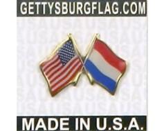 Netherlands Lapel Pin (Double Waving Flag w/USA)