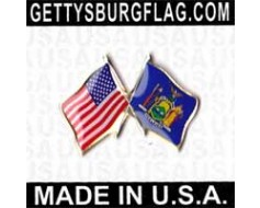 New York State Flag Lapel Pin (Double Waving Flag w/USA)