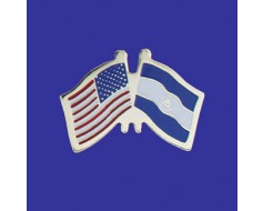 Nicaragua Lapel Pin (Double Waving Flag w/USA)