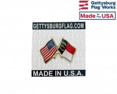 North Carolina State Flag Lapel Pin (Double Waving Flag w...
