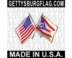 Ohio State Flag Lapel Pin (Double Waving Flag w/USA)