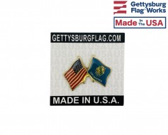 Oklahoma State Flag Lapel Pin (Double Waving Flag w/USA)