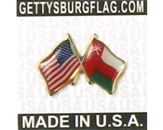 Oman Lapel Pin (Double Waving Flag w/USA)