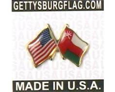 Oman Lapel Pin (Double Waving Flag w/USA)