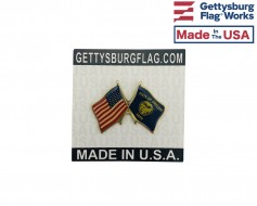 Oregon State Flag Lapel Pin (Double Waving Flag w/USA)