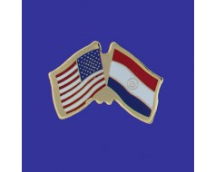 Paraguay Lapel Pin (Double Waving Flag w/USA)