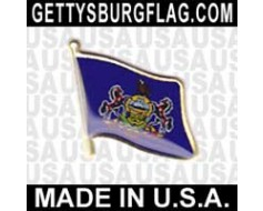 Pennsylvania State Flag Lapel Pin (Single Waving Flag)