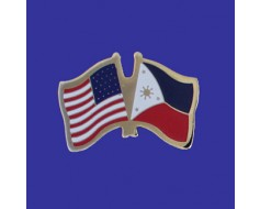 Philippines Lapel Pin (Double Waving Flag w/USA)