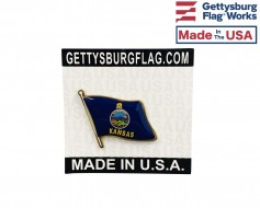 Kansas State Flag Lapel Pin (Single Waving Flag)