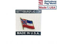 Mississippi State Flag Lapel Pin (Single Waving Flag)