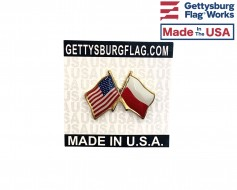 Poland Lapel Pin (Double Waving Friendship with USA Flag)