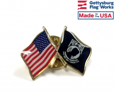 POW/MIA Lapel Pin (Double Waving Flag w/USA)