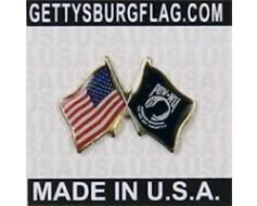 POW/MIA Lapel Pin (Double Waving Flag w/USA)