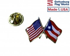 Puerto Rico Lapel Pin (Double Waving Flag w/USA)