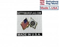 Rotary Lapel Pin (Double Waving Flag w/USA)