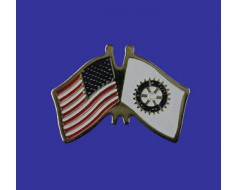 Rotary Lapel Pin (Double Waving Flag w/USA)