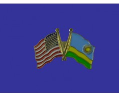 Rwanda Lapel Pin (Double Waving Flag w/USA)