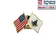 Masonic Lapel Pin (Double Waving Flag w/USA)