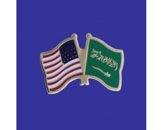Saudi Arabia Lapel Pin (Double Waving Flag w/USA)
