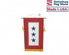 "Service Star Banner (3 Blue Stars) - 8x14"""