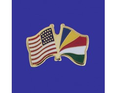 Seychelles Lapel Pin (Double Waving Flag w/USA)