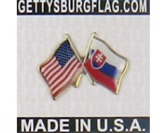 Slovakia Lapel Pin (Double Waving Flag w/USA)
