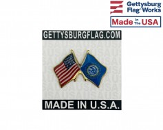 South Dakota State Flag Lapel Pin (Double Waving Flag w/USA)