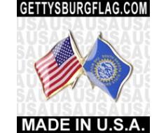 South Dakota State Flag Lapel Pin (Double Waving Flag w/USA)