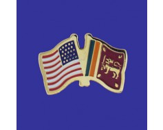 Sri Lanka Lapel Pin (Double Waving Flag w/USA)