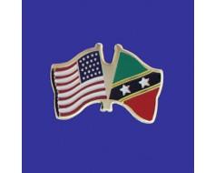 St Chris-Nevis Lapel Pin (Double Waving Flag w/USA)