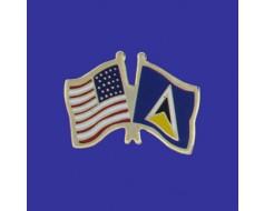 St Lucia Lapel Pin (Double Waving Flag w/USA)